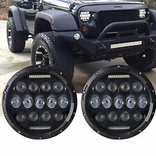 2x 75W 7inch CREE LED Headlights DRLHi/Lo For 07-14 Jeep Wrangler JK LJ CJ TJ