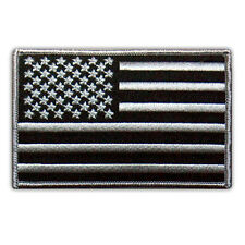 USA FLAG US EMBROIDERED PATCH SUBDUED BLACK-GRAY IRON-ON EMBLEM 4""