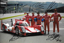 12x8 SIGNED by 6 Rebellion-Toyota R-One Drivers Portrait , WEC Spa 2014