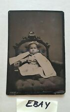 Antique Tintype Photograph Baby Toddler Seated in Ornate Chair HS