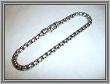 "David Yurman -1990s Sterling - 4mm 9"" BOX LINK SILVER CHAIN BRACELET - NR"