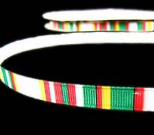 "5 Yds Christmas Red White Green Grosgrain Ribbon 3/8""W"