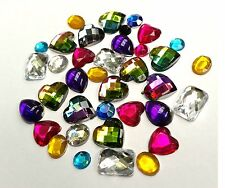 Approx.100 x Mixed Diamante Rhinestone Gem Shapes Card Toppers Flat Back