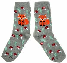LADIES WINTER FOX AND MAGICAL TOADSTOOL SOCKS UK SIZE 4-8 USA 6-10