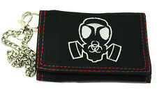 Gas Mask Triple Fold Canvas Chain Wallet