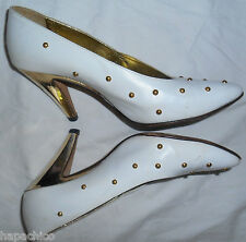 ESCADA Vintage High Heels Shoes White Leather Gold Studs 7 37 B HapaChico Haute