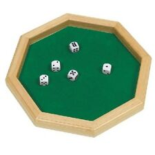 Octagon Dice Plate Wood and Felt with 5 dice