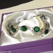 "GB059 Round emerald sim diamond 7"" silver bracelet (white gold gf) Plum UK BOXED"