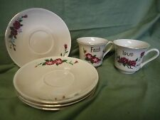 Set of 4 Saucers and 2 Tea Cups #626