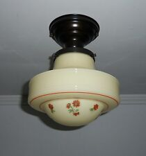 Antique 1930s Vintage Custard Glass Ceiling Light Fixture With Lightolier Shade