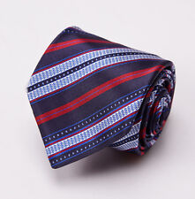 NWT $195 LUCIANO BARBERA Navy Blue-Red Ribbon Stripe Handmade Satin Silk Tie