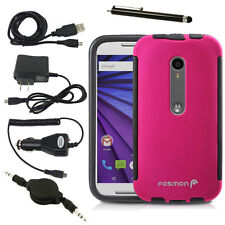 Pink Hybrid Case Cover Built-in Screen Protector Accessories For Moto G 3rd Gen