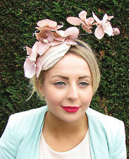 Nude Cream Orchid Flower Headpiece Hat Races Rockabilly Fascinator Headband 1594