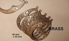BRASS   LARGE   REPOUSSE  DROPS  46 x 32 mm  6 pcs  EARRINGS BEADING FINDINGS