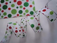 5yd Sparkle Red Green Polka Dots Christmas Wedding Craft Wreath Bow Wire Ribbon