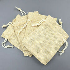 10x Linen Drawstring Jewellery Gift Packaging Pouches Candy Bags Burlap 7*9cm