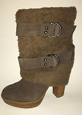 Naughty Monkey Brown Suede Faux Fur Boot Size 8.5