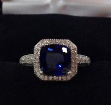 GORGEOUS Cushion Cut Sapphire White Sapphire Sterling Silver Ring 7 Rhodium NWT