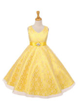 New Flower Girl Yellow Lace Dress Wedding Pageant Birthday Formal Party 6380