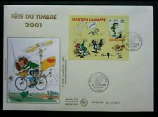 France Cartoons Gaston Lagaffe 2001 Animation Bycle (miniature FDC)