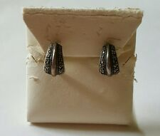 Vintage Estate Sterling Silver Marcasite Half Hoop Earrings