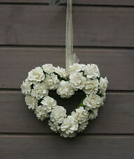 Cream Artificial Roses Heart Shape Hanging Decoration Wedding Venue Pew End Rose
