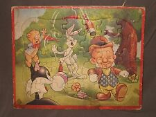 VINTAGE BUGS BUNNY, ELMER FUDD,  PORKY PIG, SYLVESTER INLAID TRAY FRAME PUZZLE