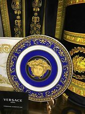 "VERSACE MEDUSA PLATE BLUE ROSENTHAL 7"" NEW In box Authentic"
