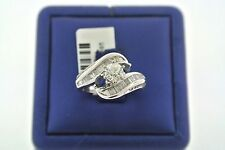 14K WHITE GOLD 1.50 CT OLD MINE CUT DIAMOND & BLUE SAPPHIRE ENGAGEMENT RING