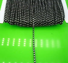 SS6 A Grade clear glass crystal 2mm Rhinestones banding black cup chain 10Yards