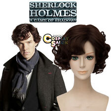 Halloween Short Dark Brown Anime Wig Cosplay Sherlock Season 4 Sherlock Hair+Cap