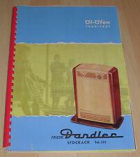 dachbodenfund katalog öl öfen ofen prospekt 1960 / 61 dandler alt techn.dat heft