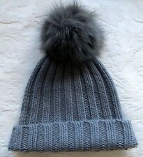 PURE LUXURY!DANIELAPI 100% MULTIPLY CASHMERE CHUNKY OVERSIZED FUR POM POM HAT