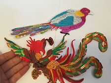 2 large bird peacock patches sequin applique iron on sew patch motif badge UK