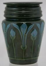 """ROSEVILLE CROCUS 6.25"""" VASE RHEAD-INSPIRED SQUEEZEBAG BY PD IN GREEN GLAZE MINT"""