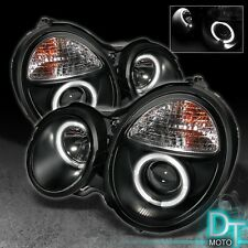 Black 1996-1999 Mercedes Benz W210 E300 E320 E430 Dual Halo Projector Headlights