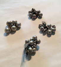 19th century Chinese antique silver buttons fine details set of 5. 4 bunches