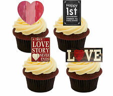 1st Wedding Anniversary Edible Cupcake Toppers, Standup Fairy Cake Decorations