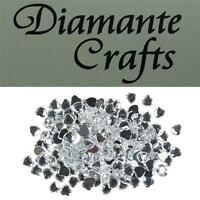 200 x 6mm Clear Diamante Heart Loose Flat Back Rhinestone Craft Embellishments
