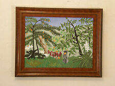 After Henri Rousseau 'EXOTIC MEADOW' Vintage Oil Painting Primitivism