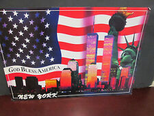 GOD BLESS AMERICA- NEW YORK TWIN TOWERS -FLAG POSTER - 13X19