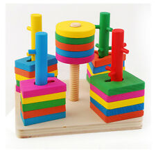 Montessori wooden toy baby block gift 5 pillar color shape match topping-on game