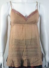 WET SEAL Brown baby doll beaded summer sun day blouse top shirt Sz S