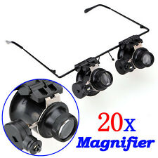 Eye glasses 20X Magnifier Magnifying Glass Loupe LED Light Jeweler Watch Repair