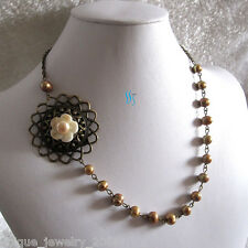 """Vintage 19"""" 7-8mm Champagne Freshwater Pearl Necklace A UJ"""