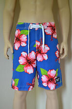 Abercrombie & Fitch Green Mountain Swim Board Shorts Blue Floral Tugger XS £64