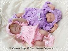 """BABYDOLL HANDKNIT DESIGNS KNITTING PATTERN ANGEL TOP & NAPPY COVER 7-12"""" DOLL"""