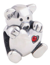 Cute Teddy Bear Holding a Heart Silver Charm Bead - I Love You - Valentines Gift