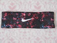 Nike Adjustable Fury Headband Multi Color Print Black/Rasberry - New
