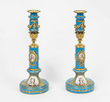 Antique Pair Sevres Porcelain & Ormolu Candlesticks C1880